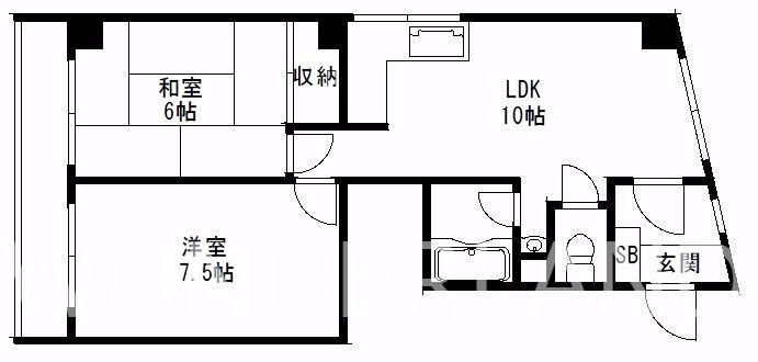 浪速区恵美須西の2LDKマンション!2LDKの広さで8万以下となっています!! 間取り