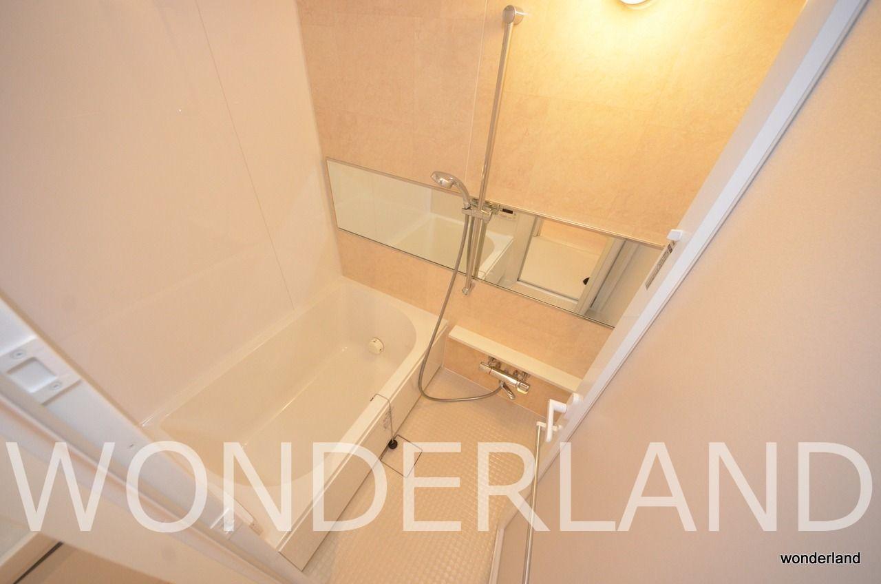 浴室部分にもワイドの広い鏡が付いています