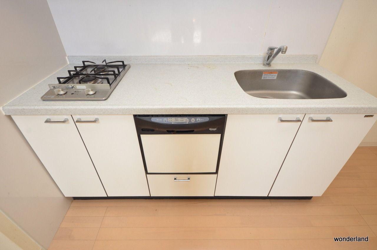 2口ガスコンロに食器洗い洗浄機付き
