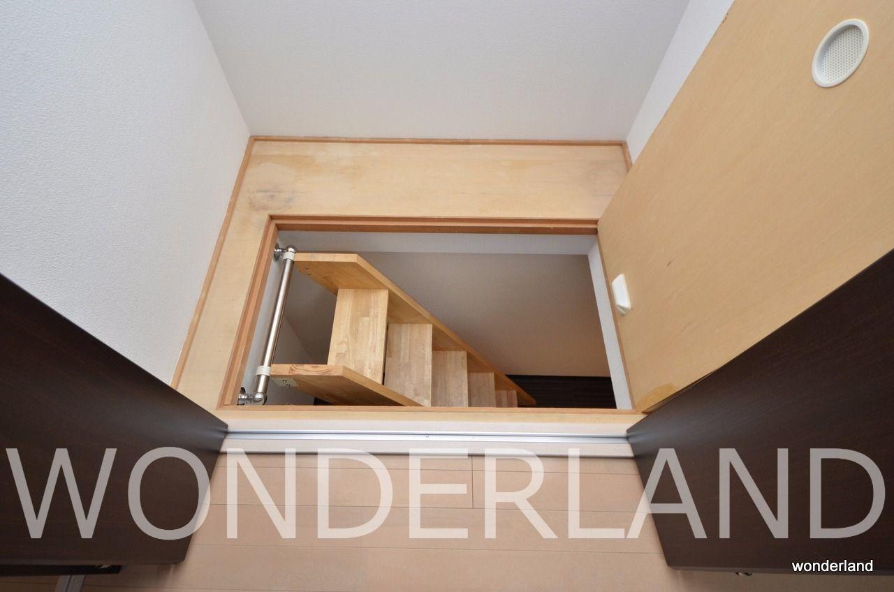 収納の一つをあけると、隠し階段のような階段がでてきます