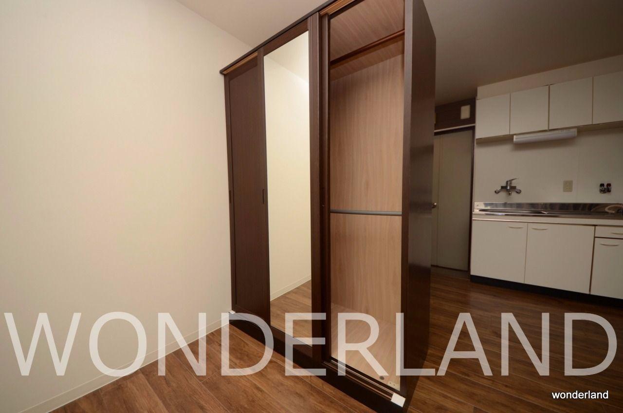 3枚扉の姿見付き、移動も可能、また不必要なら撤去も可能